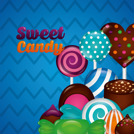 sweet candy palettes heart cakes chocolate chips vector illustration