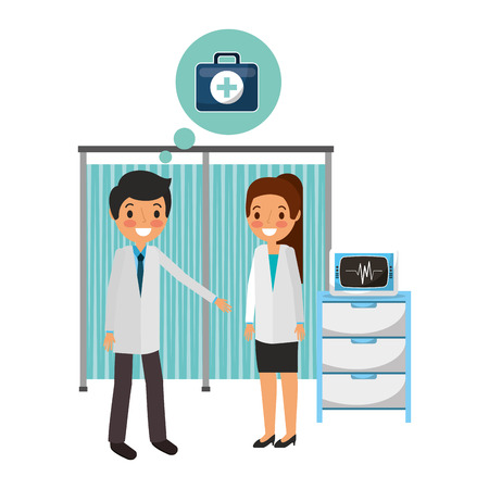 couple doctors in the hospital vector illustration design