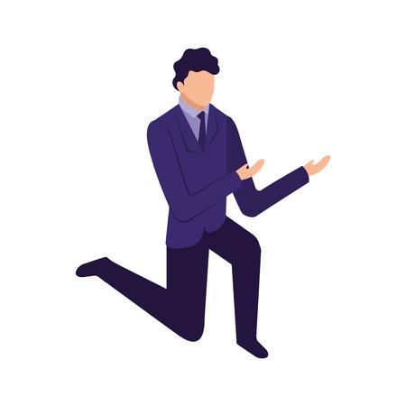Elegante empresario de rodillas, diseño de ilustraciones vectoriales