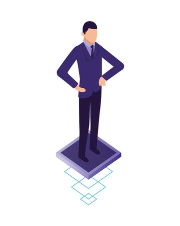 elegant businessman character icon vector illustration design Illustration