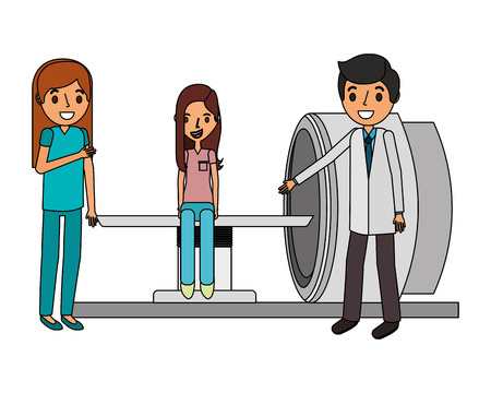 staff medical with patient and rx scanner vector illustration design