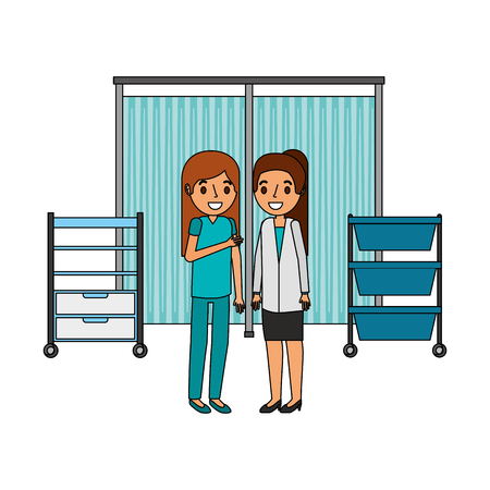 doctor female and surgeon in the hospital vector illustration design