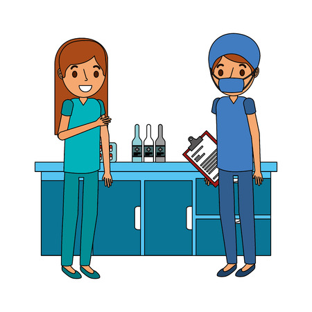 couple doctors in the laboratory vector illustration design