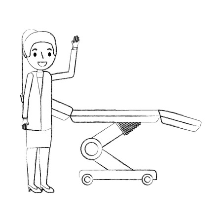 female doctor with medical stretcher equipment vector illustration hand drawing Stock Illustratie