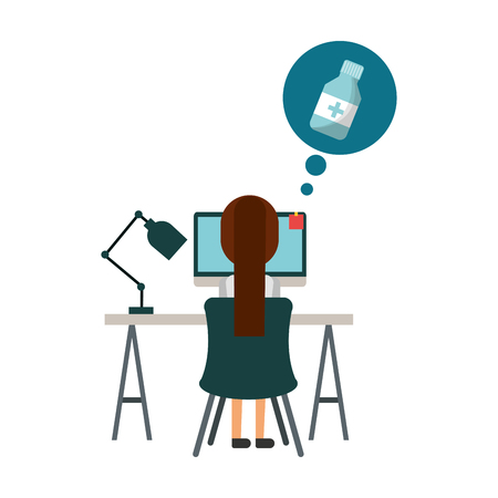doctor female in computer thinking drugs vector illustration design