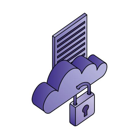 cloud computing with document and padlock vector illustration design Vektorové ilustrace