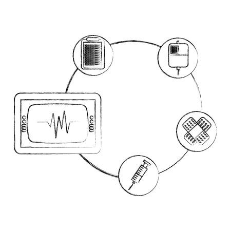 Bolsa de monitor médico jeringa de sangre y banda de ayuda ilustración vectorial dibujo a mano