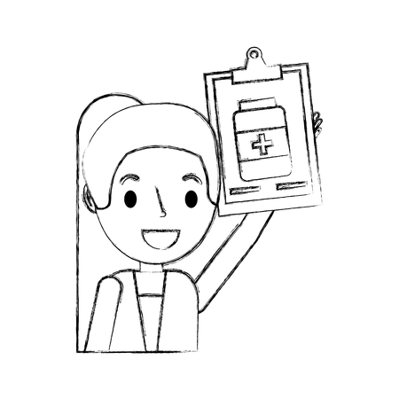 female doctor with clipboard pharmacy bottle vector illustration hand drawing Ilustrace