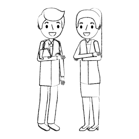 professional female and male doctor character in uniform vector illustration hand drawing