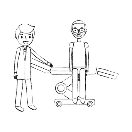 doctor with patient sitting on stretcher medical vector illustration hand drawing