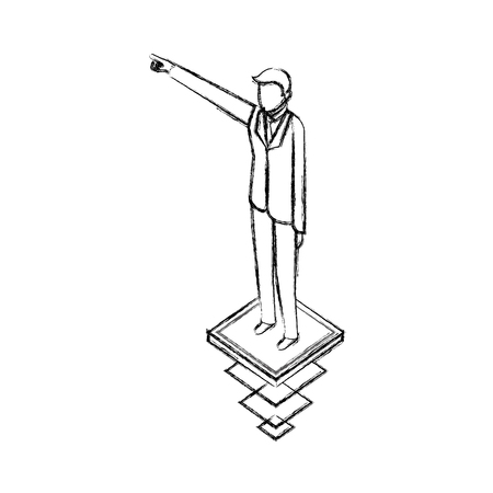 data network businessman male hand up pointed vector illustration hand drawing