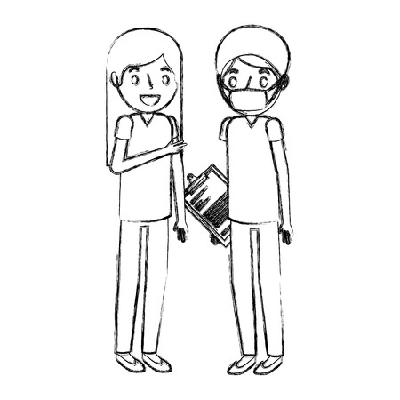 nurse and doctor surgeon with mask and clipboard vector illustration hand drawing