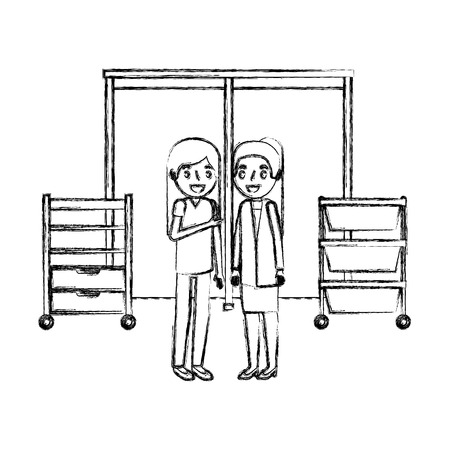 female doctor and nurse in the consultation room vector illustration hand drawing Stock Illustratie