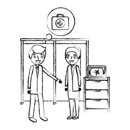 man and woman doctor in consultation room monitor machine vector illustration hand drawing