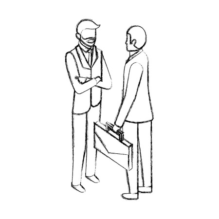 businessmen with briefcase talking business conversation vector illustration hand drawing