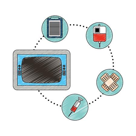 Monitor médico bolsa jeringa de sangre y banda de ayuda ilustración vectorial