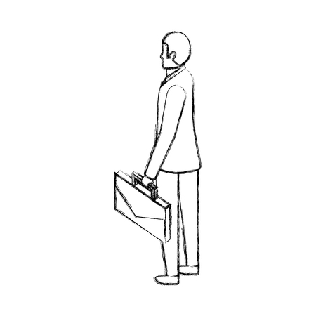 businessman back view with briefcase vector illustration hand drawing Stock Illustratie