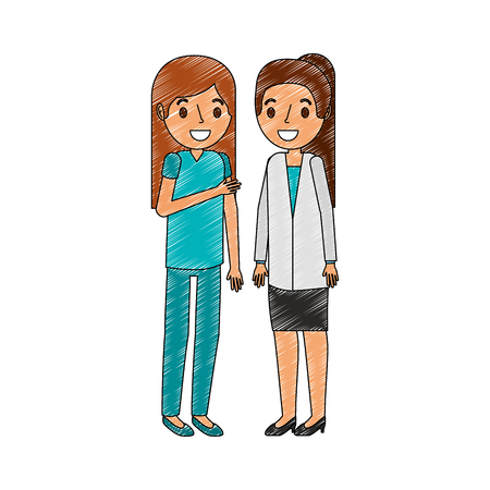 medical staff professional doctor and nurse female vector illustration