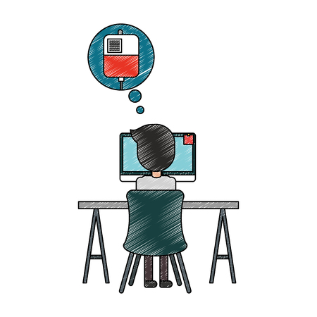 doctor working computer thinking in blood bag vector illustration