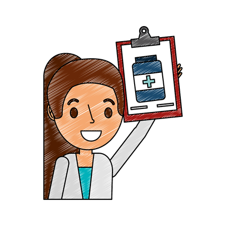 female doctor with clipboard pharmacy bottle vector illustration