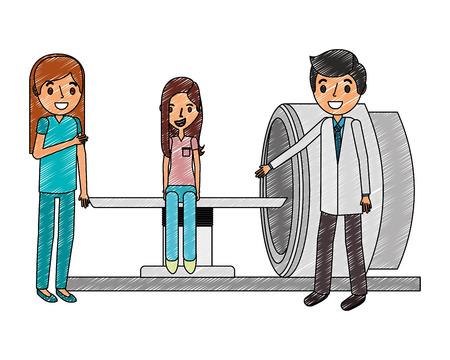 médico y enfermera con paciente y máquina de escáner ilustración vectorial médica Ilustración de vector