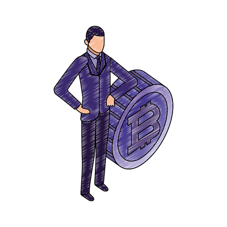 data network businessman bitcoin male standing vector illustration