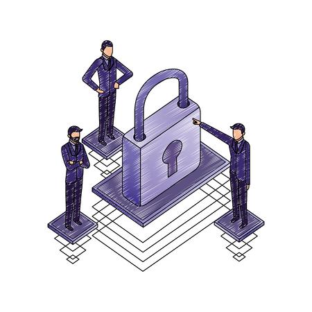 data network businessman padlock security save vector illustration