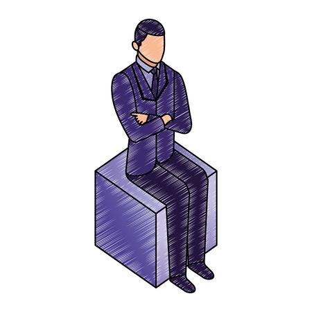 data network businessman sitting hands on the hip vector illustration