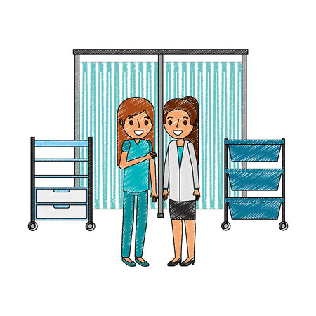 female doctor and nurse in the consultation room vector illustration