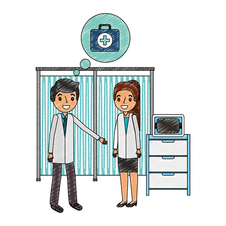 man and woman doctor in consultation room monitor machine vector illustration