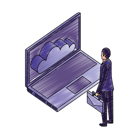 businessman with briefcase looking laptop cloud computing vector illustration Illustration