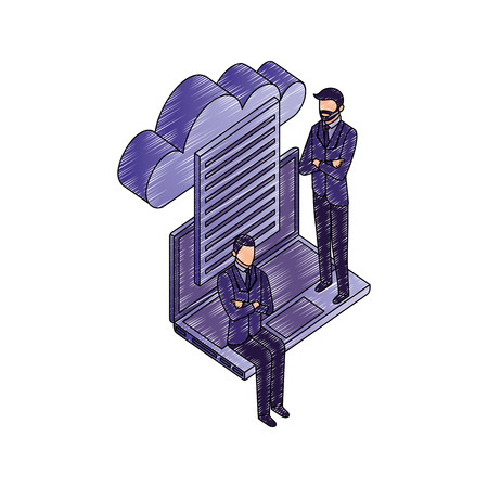 data network businessman paper computer cloud safety vector illustration