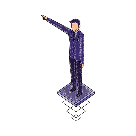 data network businessman male hand up pointed vector illustration
