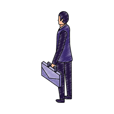 businessman back view with briefcase vector illustration Stock Illustratie