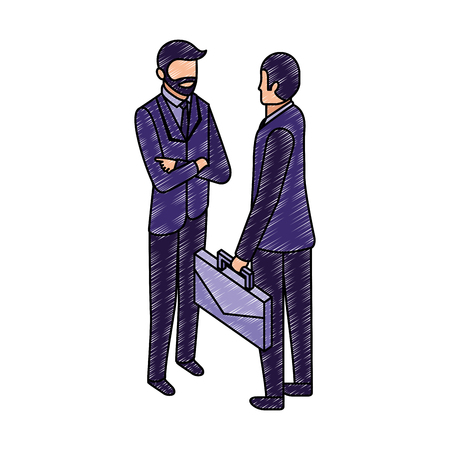 businessmen with briefcase talking business conversation vector illustration Ilustração