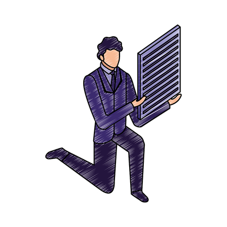 businessman on the knee with document paper vector illustration Archivio Fotografico - 110446759