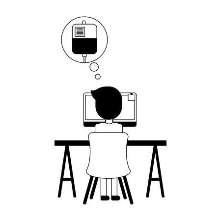 doctor in computer thinking in blood vector illustration design