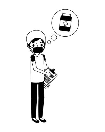 surgeon with checklist thinking in drugs vector illustration design Illustration