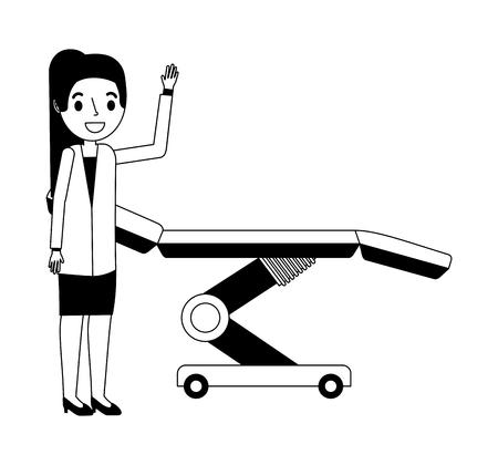 doctor female with stretcher vector illustration design