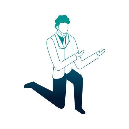elegant businessman down on my knees vector illustration design Foto de archivo - 110446831