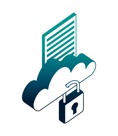 cloud computing with document and padlock vector illustration design Illustration
