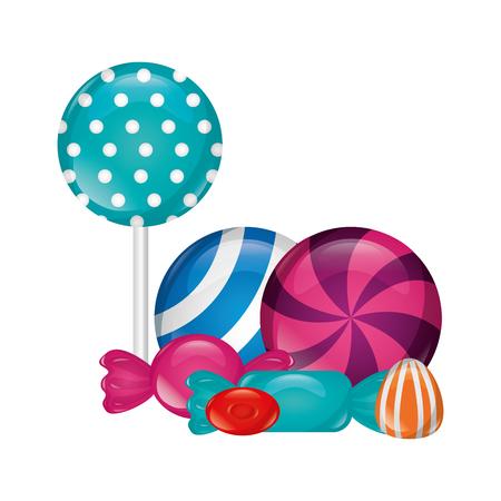 sweet candies lollipops caramels gummy vector illustration