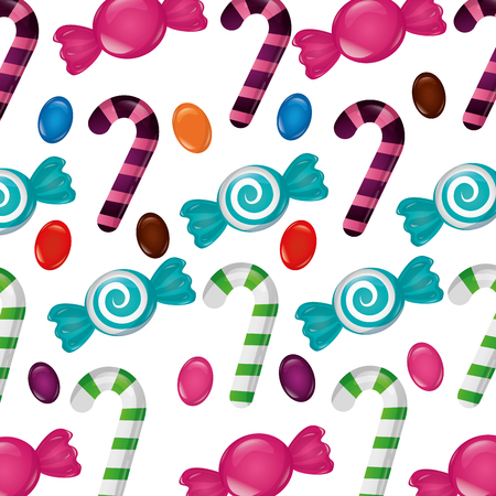 sweet confectionery candies bonbons tasty background vector illustration
