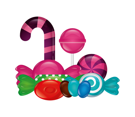sweet candy cane lollipops bonbons confectionery vector illustration Ilustração