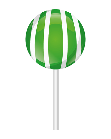 striped sweet lollipop confectionery tasty vector illustration