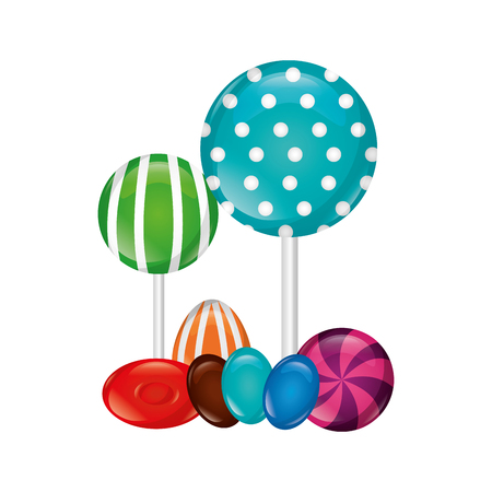 sweet candies lollipops caramels and almonds vector illustration