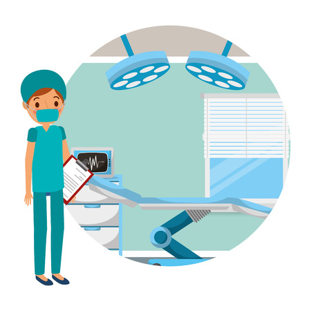 doctor professional in room equipped in a hospital vector illustration