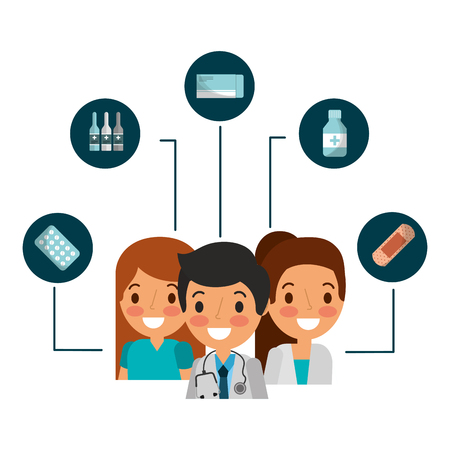 man and woman doctor nurse staff medical supplies vector illustration