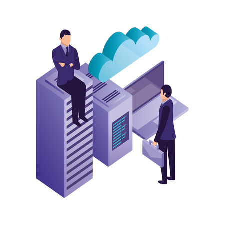 business men with laptop database center cpu cloud computing vector illustration