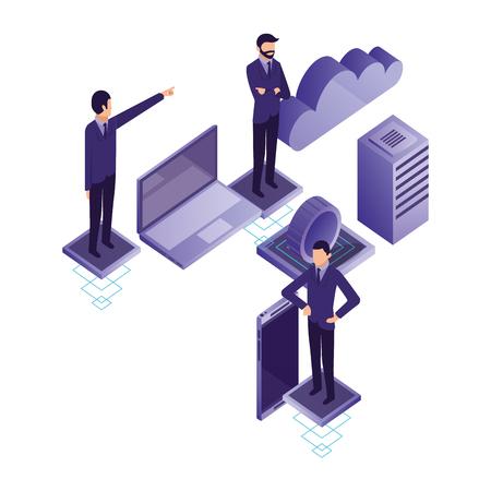 businessmen laptop smartphone data server cloud computing vector illustration
